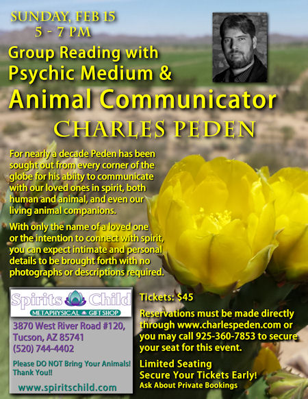 Group Reading with Psychic Medium & Animal Communicator Charles Peden at Spirits Child in Tucson, Arizona - February 15, 2015